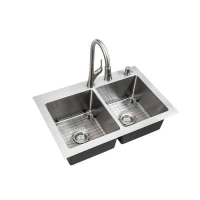 All-in-One Dual Mount Stainless Steel 33 in. 2-Hole 50/50 Double Bowl Kitchen Sink in Brushed Finish