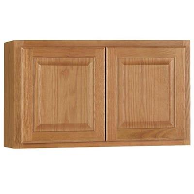 Hampton Assembled 30x18x12 in. Wall Bridge Kitchen Cabinet in Medium Oak