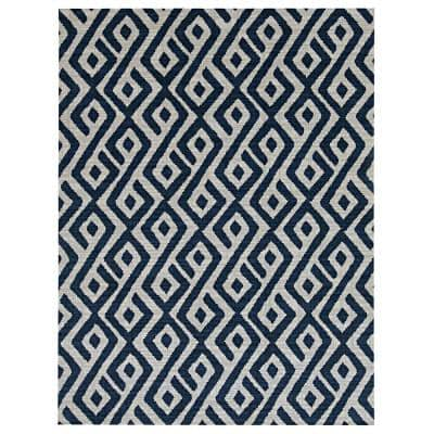 Blue/White 6 ft. x 8 ft. Abstract Indoor/Outdoor Area Rug