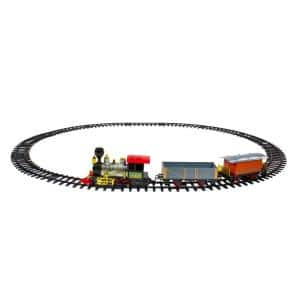 17-Piece Battery Operated Lighted and Animated Gold and Red Classic Model Train Set with Sound