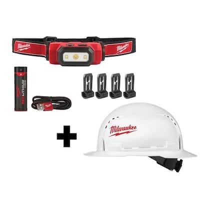 475 Lumens LED REDLITHIUM USB Hard Hat Headlamp w/BOLT White Type 1 Class C Full Brim Vented Hard Hat