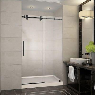 Langham 48 in. x 77.5 in. Completely Frameless Sliding Shower Door in Oil Rubbed Bronze with Center Base