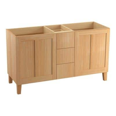 Poplin 60 in. Vanity Cabinet Only in Khaki White Oak
