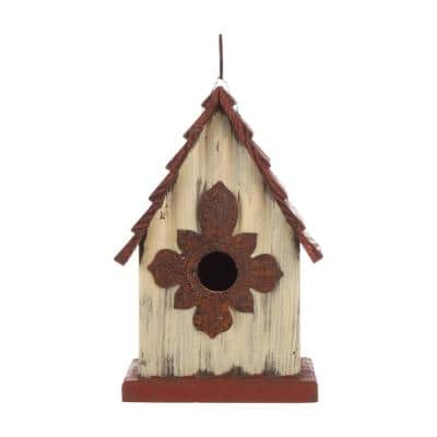9 in. H Distressed Solid Wood Birdhouse