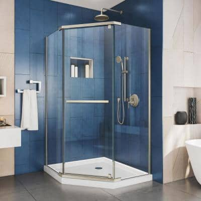 Prism 40 in. x 40 in. x 74.75 in. Semi-Frameless Pivot Neo-Angle Shower Enclosure in Brushed Nickel with White Base