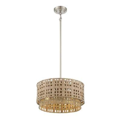3-Light Brushed Nickel Pendant with Weathered Grey and Natural Rattan Shade