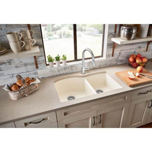 Blanco Diamond Undermount Granite Composite 32 In 60 40 Double Bowl Kitchen Sink Biscuit 440181 The Home Depot