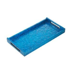 18.25 in. L x 9.25 in. W x 2 in. H Blue Wooden Lacquered Basket Weave Rectangle Tray