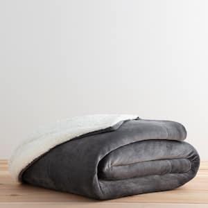 Reversible in Grey Fleece and Sherpa Blanket- King