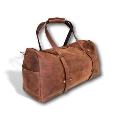 11 in. Brown Over-Sized Leather Duffel Bag