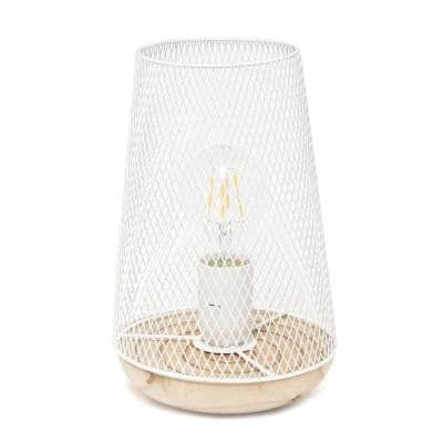 9 in. White Wired Mesh Uplight Table Lamp