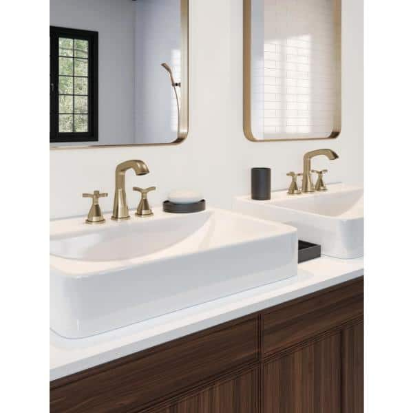 Delta Stryke 8 In Widespread 2 Handle Bathroom Faucet In Champagne Bronze 357766 Czmpu Dst The Home Depot