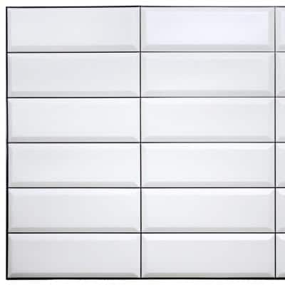 3D Falkirk Retro III 38 in. x 19 in. White Grey Faux Tile PVC Decorative Wall Paneling (10-Pack)
