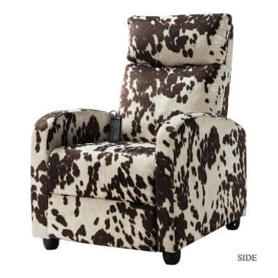 Eleno Brown Printed Fabric Recliner Chair