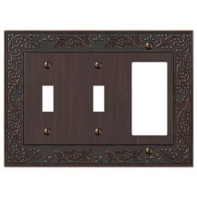 Bleinhem 3 Gang 2-Toggle and 1-Rocker Metal Wall Plate - Aged Bronze
