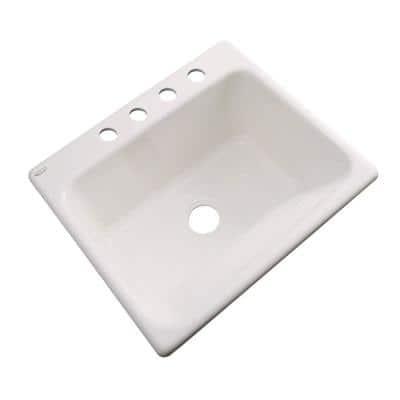 Kensington Drop-In Acrylic 25 in. 4-Hole Single Bowl Utility Sink in Natural