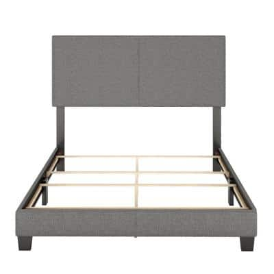 Barrett Twin Grey Linen Upholstered Platform Bed Frame