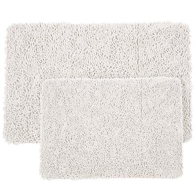 Shag White 21 in. x 32 in. Memory Foam 2-Piece Bath Mat Set