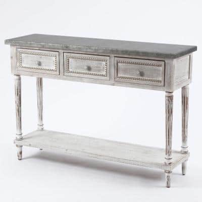 Farmhouse 48 in. White/Dark Gray Standard Rectangle Wood Console Table with Drawers