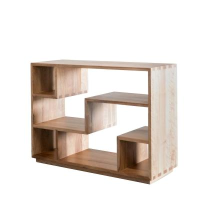 Tao 33 in. Light Walnut Wood 4-Shelf Decorative Etagere Bookcase