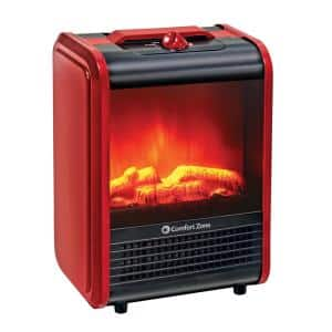 1,200-Watt MiniCeramic Fireplace Electric Heater with Simulated Flame in Red