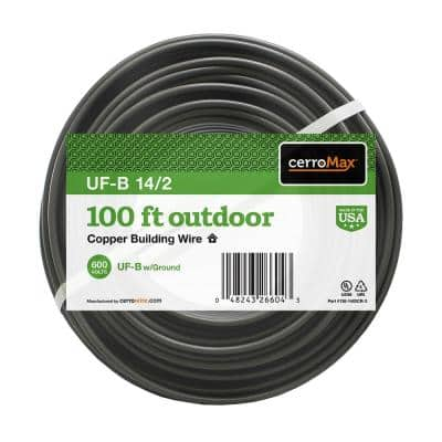 100 ft. 14-2 Gray Solid CerroMax UF-B Cable with Ground Wire
