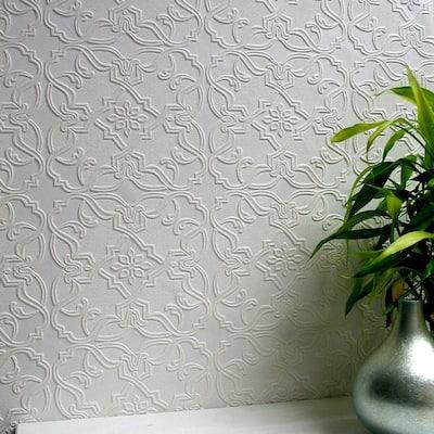 Maxwell Paintable Textured Vinyl White & Off-White Wallpaper Sample