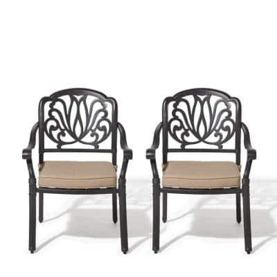 Classic Dark Brown Stacking Cast Aluminum Outdoor Dining Chair with Beige Cushions (2-Pack)
