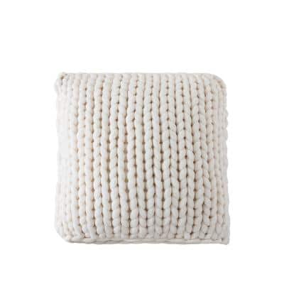 Thick Knit Ivory Square 20 in. L x 20 in. W Throw Pillow