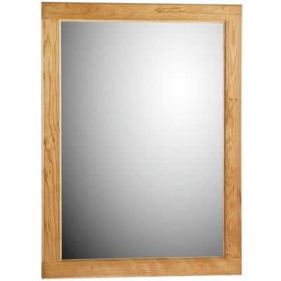 Ultraline 24 in. W x 32 in. H Framed Rectangular Bathroom Vanity Mirror in Natural alder finish