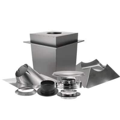 6 in. x 17 in. Triple-Wall Chimney Pipe Up Through the Ceiling Basic Install Kit