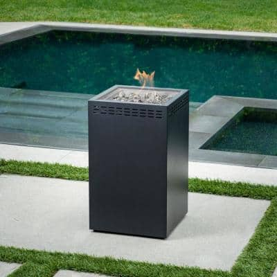 Naples 16 in. x 35 in. Square Column Steel Gas Fire Pit