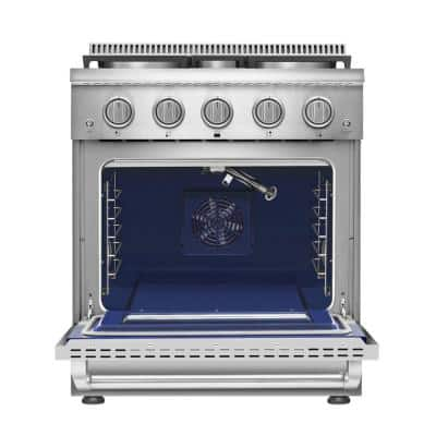 Pro-Style Freestanding 30 in. 4.2 cu.ft. Single Oven Gas Range with 4 Sealed Burners in Stainless Steel