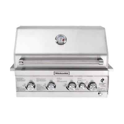 4-Burner Built-in Propane Gas Island Grill Head in Stainless Steel with Rotisserie Burner