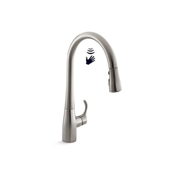 Kohler Simplice Touchless Single Handle Pull Down Sprayer Kitchen Faucet In Vibrant Stainless K 22036 Vs The Home Depot