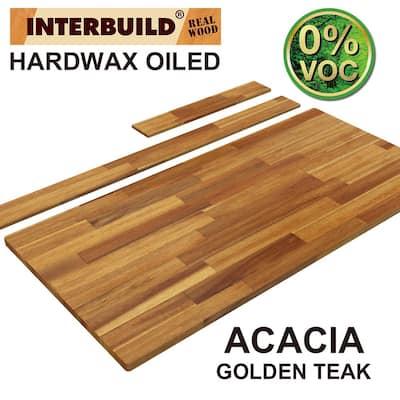 85 in. x 24 in. x 1 in. Acacia Vanity Top with Backsplash, Golden Teak