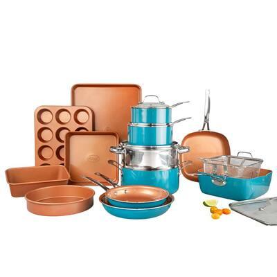 20-Piece Aluminum Ti-Ceramic Nonstick Cookware and Bakeware Set in Blue