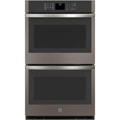 30 in. Smart Double Electric Wall Oven Self-Cleaning in Slate, Fingerprint Resistant
