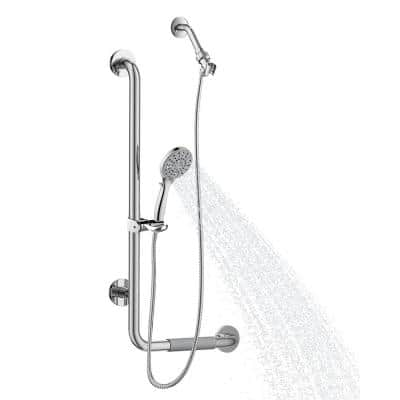 ErgoSlideBar Left 5-Spray Wall Bar Shower Kit In Polished Stainless Steel