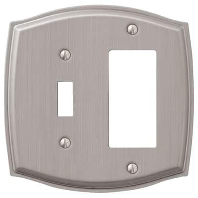 Vineyard 2 Gang 1-Toggle and 1-Rocker Steel Wall Plate - Brushed Nickel