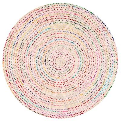 Tammara Colorful Braided Ivory 8 ft. Round Rug