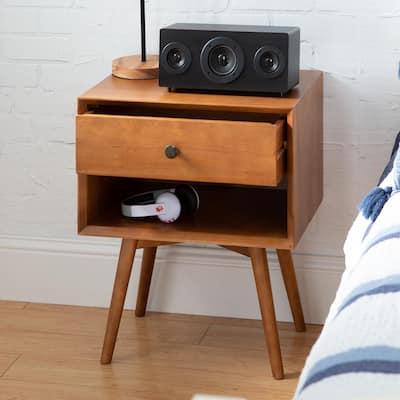 Mid-Century 1-Drawer Caramel Solid Wood Nightstand
