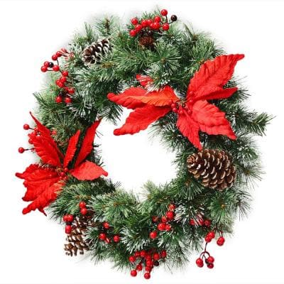24 in. Green Pre-Lit LED Artificial Christmas Wreath Battery Operated with 50 LED Light and Timer