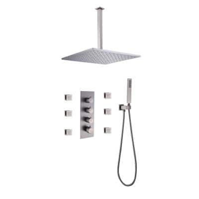 2-Spray Patterns with 2 GPM 11.81 in. Ceiling Mount Rain Dual Shower Heads with 6-Jets in Polished Nickel