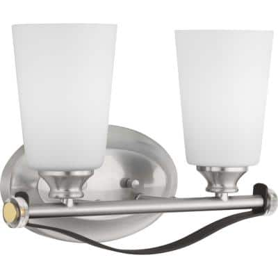 Nealy Collection 2-Light Brushed Nickel Vanity Light