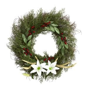 20 in. Cedar Antlers Lily and Ruscus with Berries Artificial Wreath