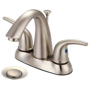 Elite 4 in. Centerset 2-Handle High-Arc Bathroom Faucet with Pop-Up Assembly in Brushed Nickel