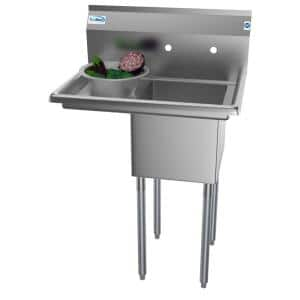 29 in. Freestanding Stainless Steel 1 Compartment Commercial Sink with Drainboard
