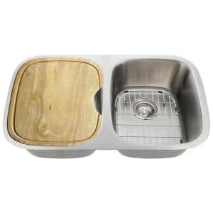Polaris Sinks Undermount Stainless Steel 29 In Double Bowl Kitchen Sink P015 16 The Home Depot