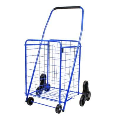 Blue Metal Cleaning Cart with Deluxe Shopping Stair Climber